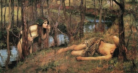 Hylas With A Nymph by John William Waterhouse