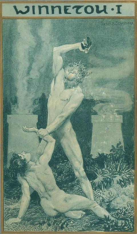 Buchdeckel des Romans Winnetou I von Karl May 1904 Kain & Abel