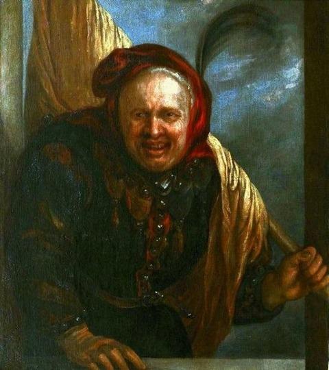 フランドルの画家 Jester with a flag 17世紀初期