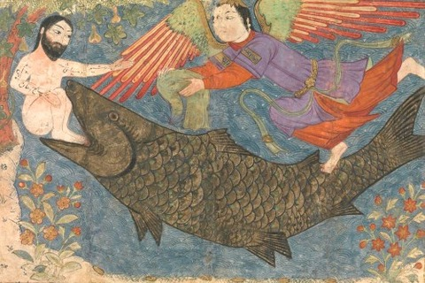 Jonah and the Whale Folio from a Jami al-Tavarikh 1400