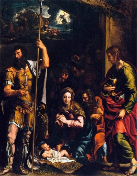 Adoration of the Shepherds Sts. Longinus  John Giulio Romano