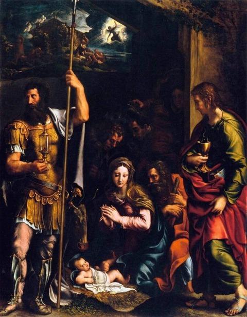 Adoration of the Shepherds Sts. Longinus  John Giulio Romano
