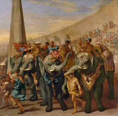 Andrea di Lione Elephants in a circus 1640