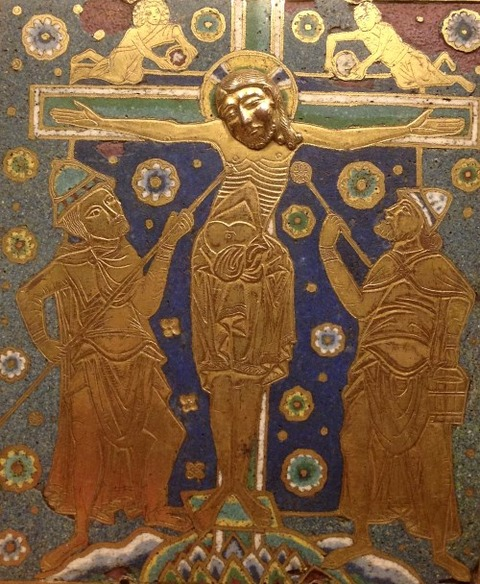 Longinus and Stephaton in a German enamel, ca. 1200