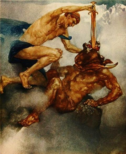William Russell Flint Theseus killing the Minotaur 1912