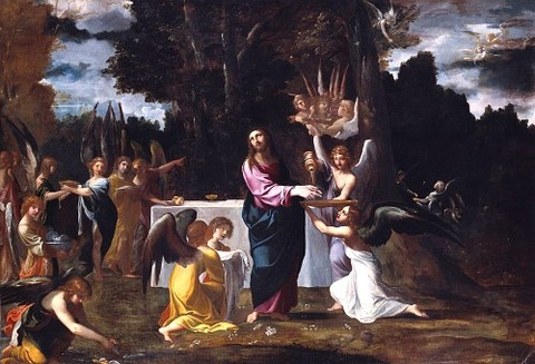 Ludovico Carracci - Christ Wilderness Angels  1608