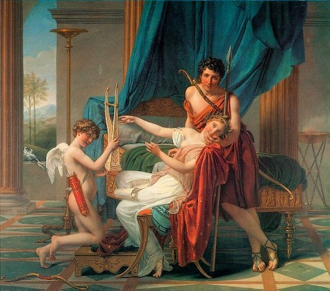 Sappho And Phaon by Jacques-Louis David 1809