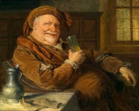 Eduard Grützner Falstaff mit Zinnkanne und Weinglas