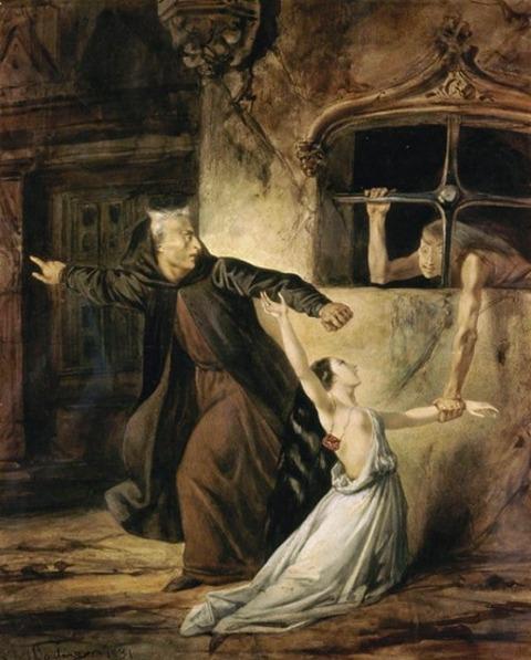 Louis Boulanger, La Sachette défendant la Esmeralda, 1833