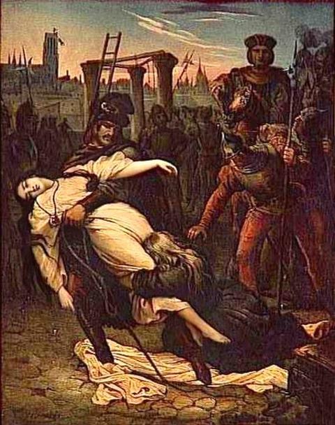 Quasimodo saving Esmeralda. An illustration by Aime de Lemud