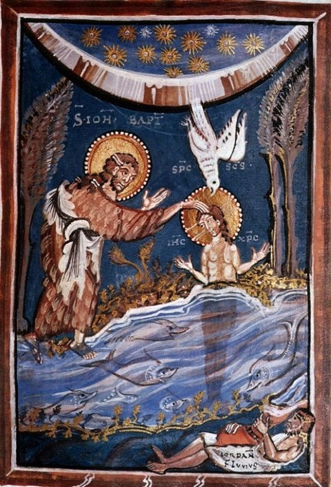 Hitda Codex  Baptism of Christ   Ottonian manuscript 1025-50