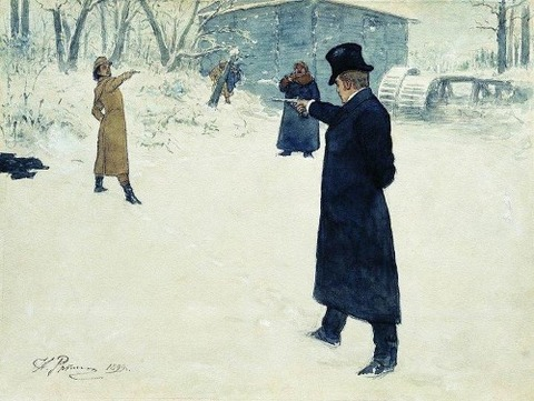 fictional Eugene Onegin and Vladimir Lensky  Ilya Repin 1899