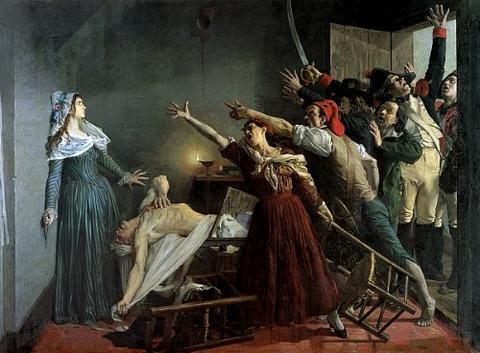 Jean Joseph Weerts   L'Assassinat de Marat  (1880)