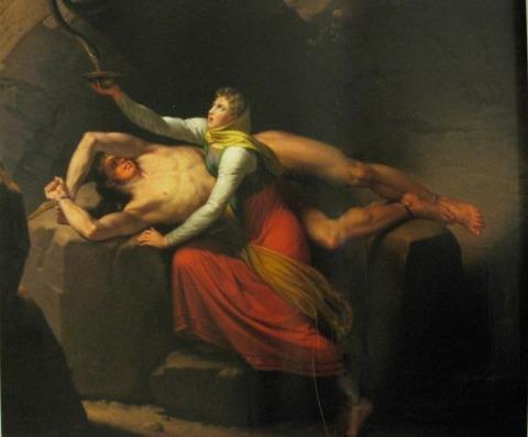 Loke and Sigyn by Christoffer Eckersberg (1810)