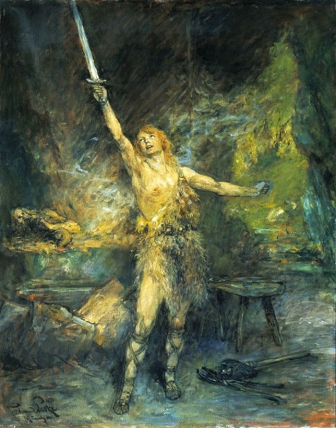 Ferdinand Leeke    Siegfried forges the sword