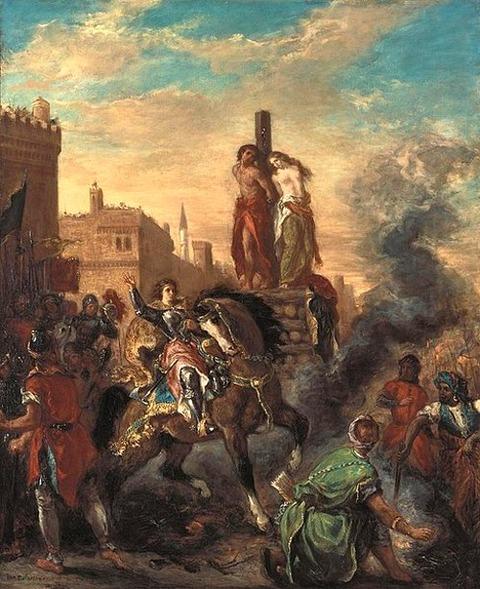 Clorinda Rescues Olindo and Sophronia by Eugène Delacroix 1856