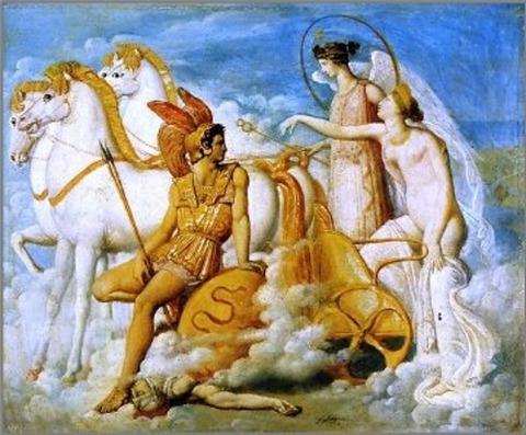 Venus Injured  Diomedes  Olympus  Jean Auguste Dominique 1800