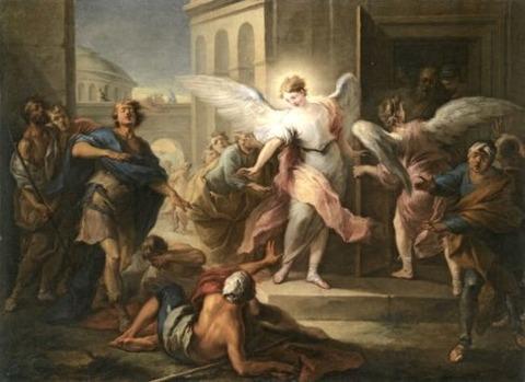 Blinding of the Inhabitants of Sodom - Carle van Loo 18th