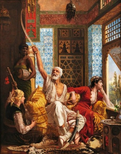 1883  Walter Charles Horsley, Women and an Old Man in the Harem