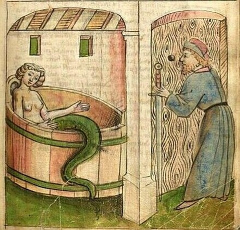 Mélusine in her bath. Book of Hours of Duc de Berry 1392-3