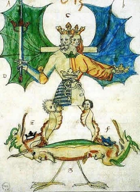 Acquerello estratto dal manoscritto alchemico Pandora  1550