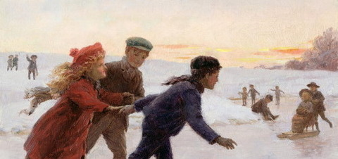 Children Skating by Tarrant, Percy 1883-1904 -