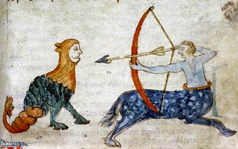 Medieval Bestiary   centaur prepares to shoot a grotesque beast