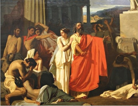 Ernest Hillemacher Antigone during the plague in Thebes
