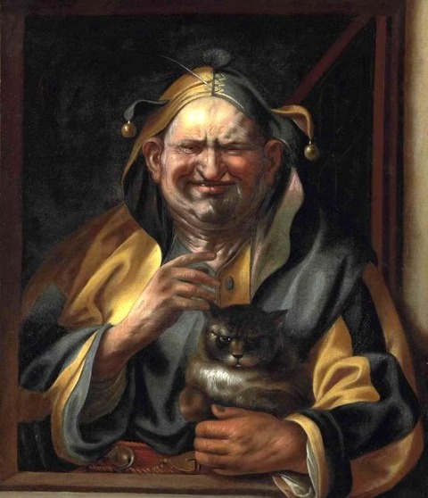 A jester with a cat, by Studio of Jacob Jordaens
