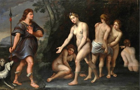 Domenichino Painting - Diana And Actaeon by Domenichino