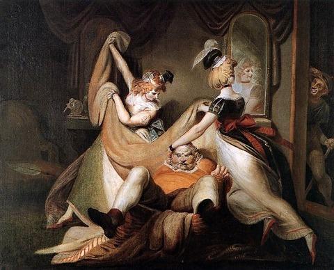Falstaff in the laundry basket by Johann Heinrich Fussli 1792