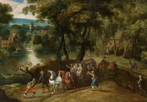 Flemish School, 17th Wooded Landscape With Robbers, Men