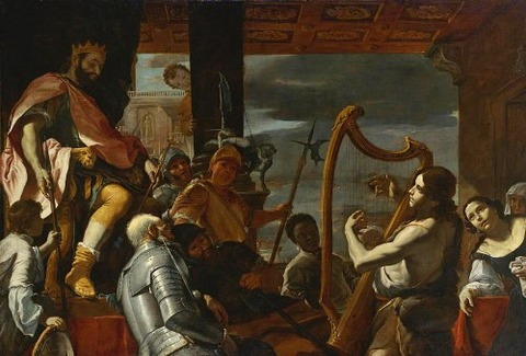 David Playing The Harp Before Saul by Mattia Preti