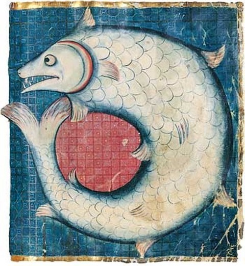 MEDIEVAL MANUSCRIPT, ILLUMINATED 13TH Leviathan 1280