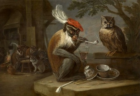 Singerie with smoking pipe, David Teniers the Younger, 17