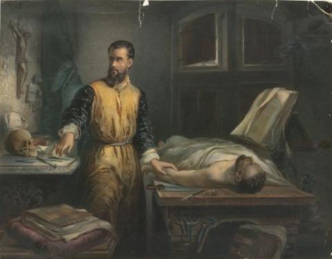 1848 painting Edouard Hamman  anatomist Andreas Vesalius
