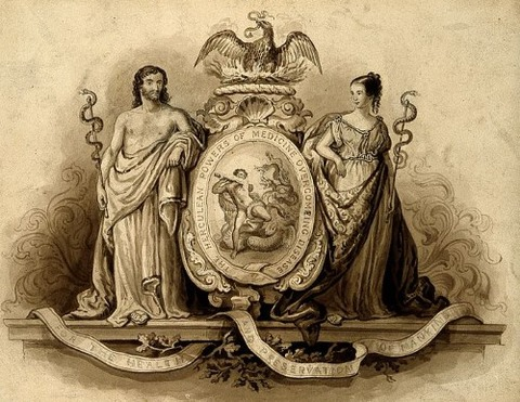 Aesculapius and Hygieia, with Hercules fighting the hydra