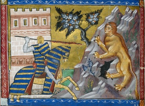 He fights the sphinx, from a manuscript of circa 1286