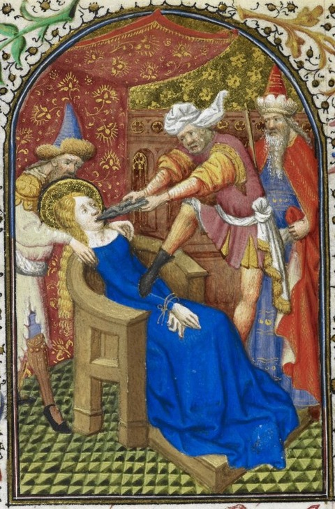 St Apollonia, from the Dunois Hours,