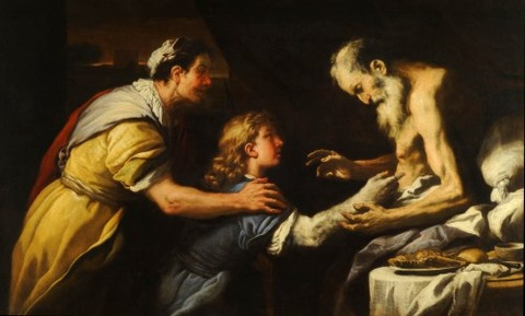 Isaac Blesses Jacob by Luca Giordano
