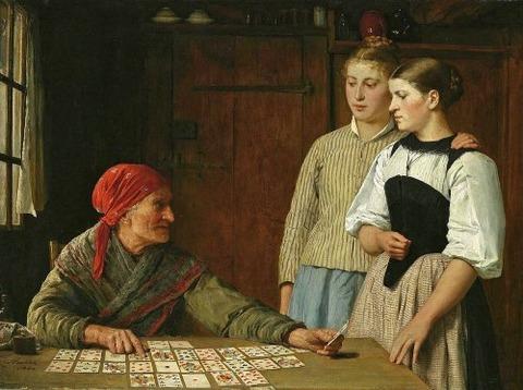 Fortune Teller by Albert Anker