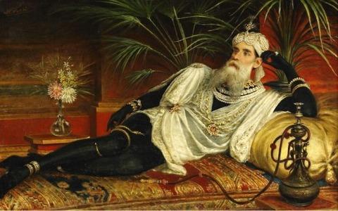 Egisto Sarri (1837-1901) Orientalism - Elegant male Odalisque