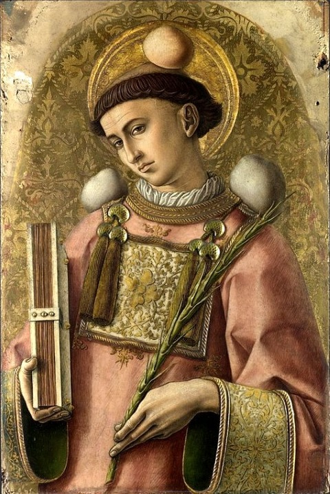 Saint Stephen, 1476, with three stones Carlo Crivelli-