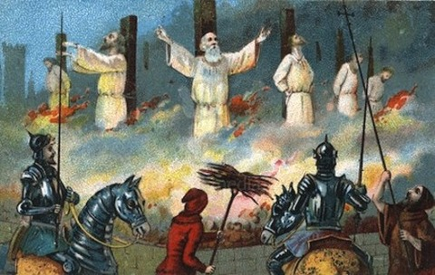 Jacques de Molay burned at the stake in 1314