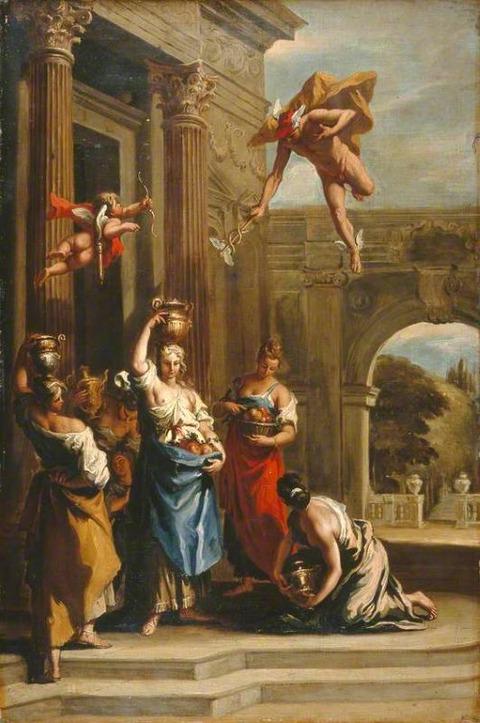 Mercury Herse  Aglauros Sebastiano Ricci school  1659–1734