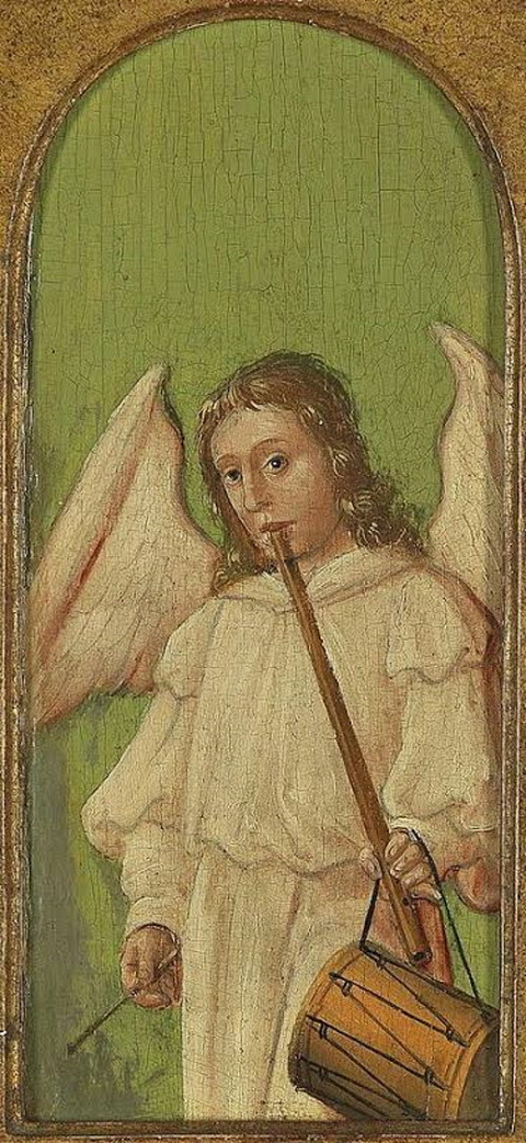 15th Century Angel Painting on Wood Panel