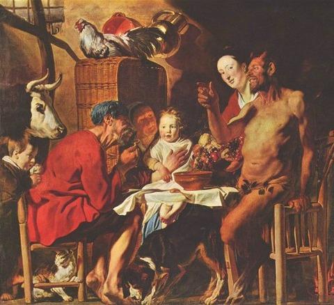 Jacob Jordaens, the laughing satyr variant  1620