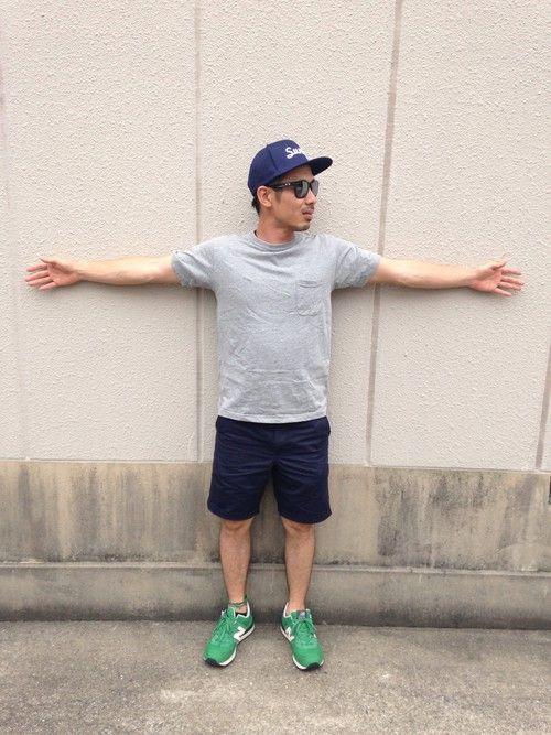 GU(ジーユー)のショートパンツ(ハーフパンツ)を用いた夏のおすすめメメンズファッションスナップ・コーディネート。