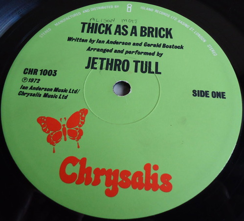JETHRO TULL/THICK AS A BRICK UK CHRYSALIS CHR 1003-2