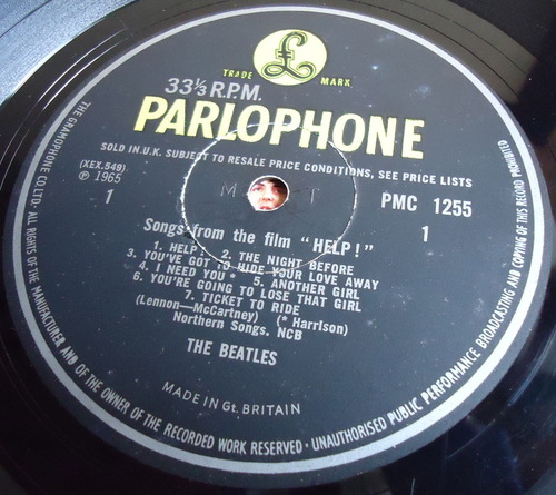 THE BEATLES HELP! UK MONO PMC 1255 MAT -2/-2-2